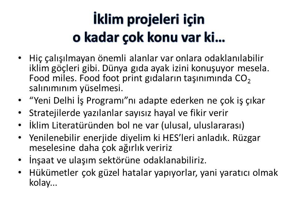 İklim projeleri için o kadar çok konu var ki…
