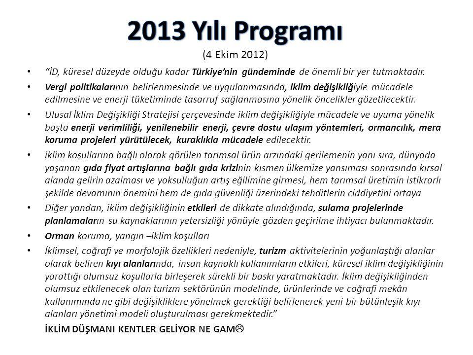 2013 Yılı Programı (4 Ekim 2012) İD, küresel düzeyde olduğu kadar Türkiye'nin gündeminde de önemli bir yer tutmaktadır.