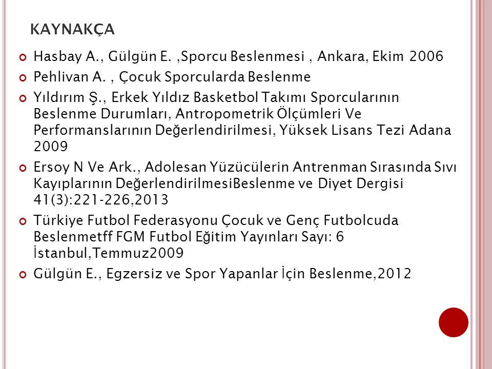 kaynakça Hasbay A., Gülgün E. ,Sporcu Beslenmesi , Ankara, Ekim 2006