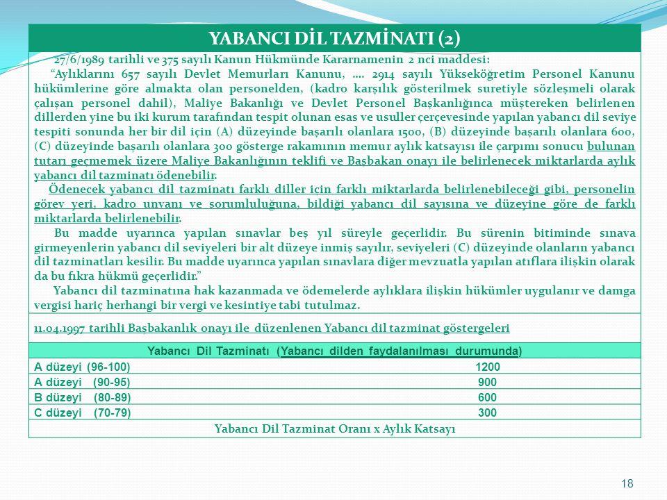 YABANCI DİL TAZMİNATI (2) Yabancı Dil Tazminat Oranı x Aylık Katsayı