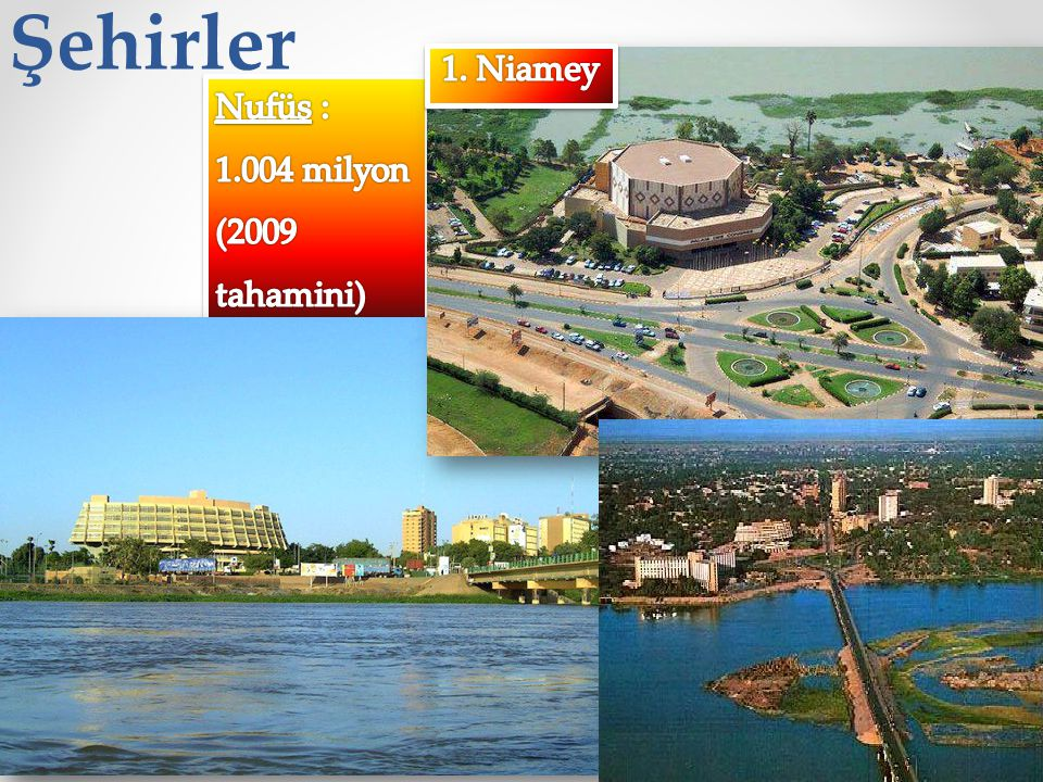 Şehirler 1. Niamey Nufüs : 1.004 milyon (2009 tahamini)