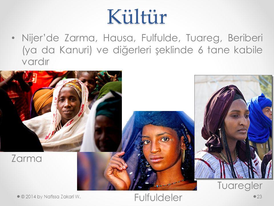 Kültür Nijer'de Zarma, Hausa, Fulfulde, Tuareg, Beriberi (ya da Kanuri) ve diğerleri şeklinde 6 tane kabile vardır.