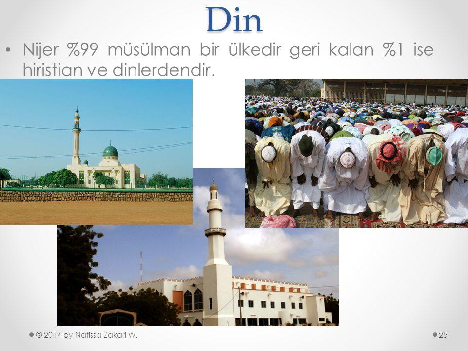 Din Nijer %99 müsülman bir ülkedir geri kalan %1 ise hiristian ve dinlerdendir.