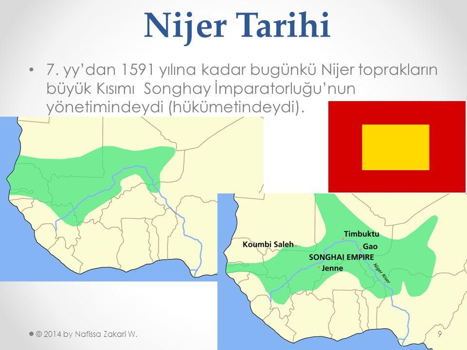 Nijer Tarihi 7. yy'dan 1591 yılına kadar bugünkü Nijer toprakların büyük Kısımı Songhay İmparatorluğu'nun yönetimindeydi (hükümetindeydi).