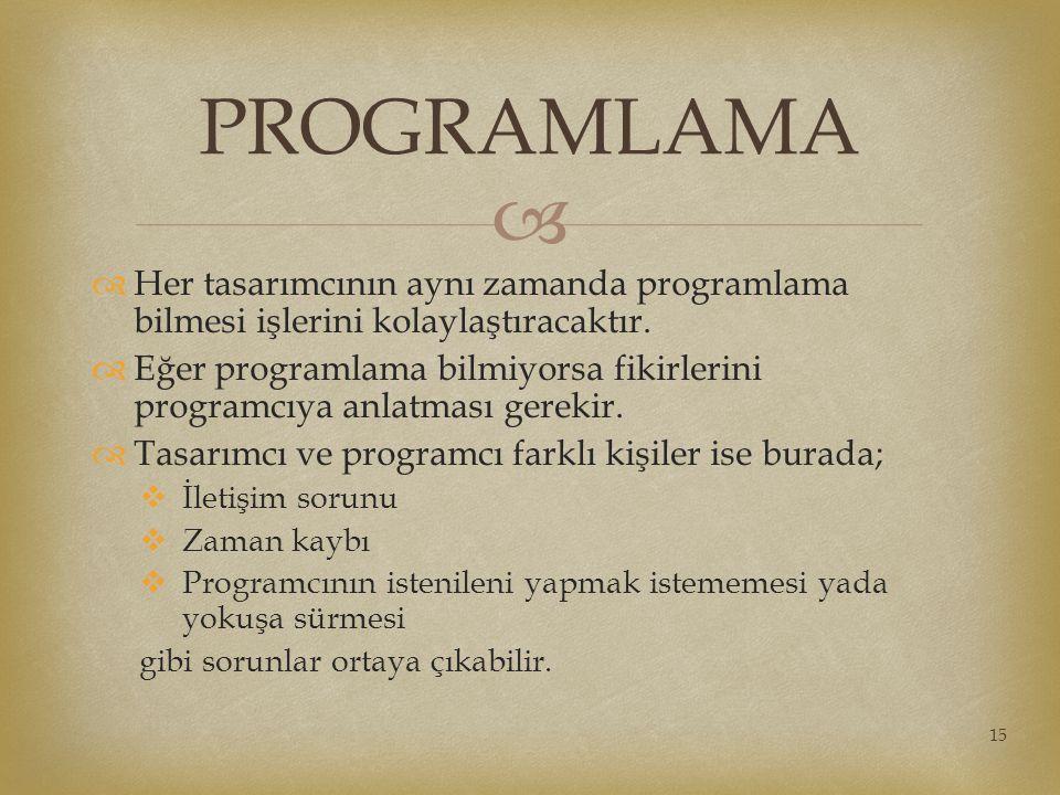 PROGRAMLAMA Her tasarımcının aynı zamanda programlama bilmesi işlerini kolaylaştıracaktır.