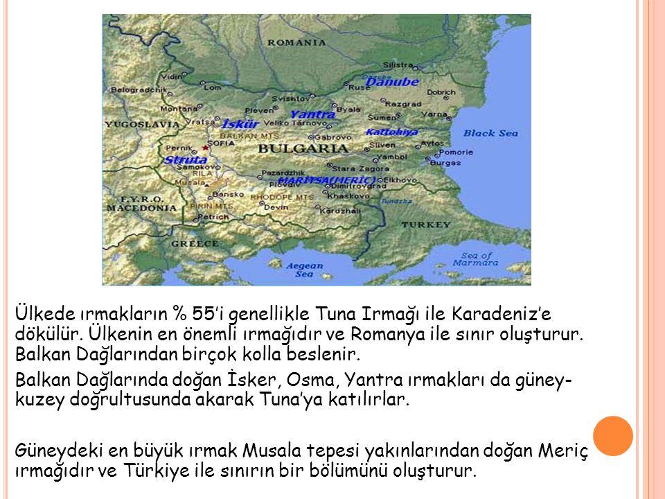 Ülkede ırmakların % 55'i genellikle Tuna Irmağı ile Karadeniz'e dökülür.
