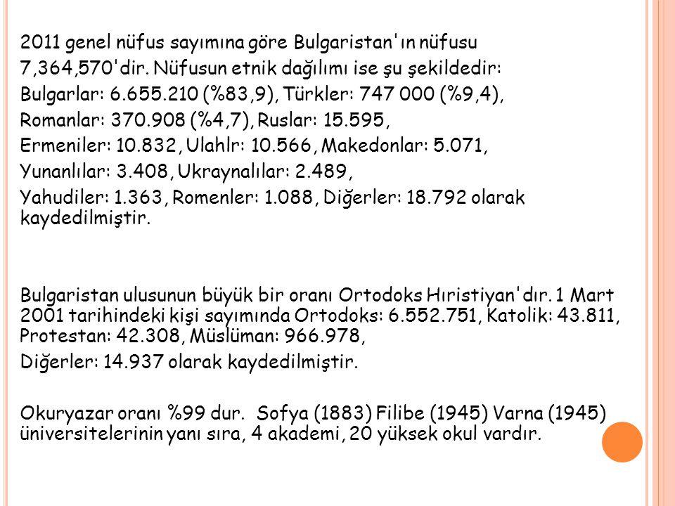2011 genel nüfus sayımına göre Bulgaristan ın nüfusu 7,364,570 dir