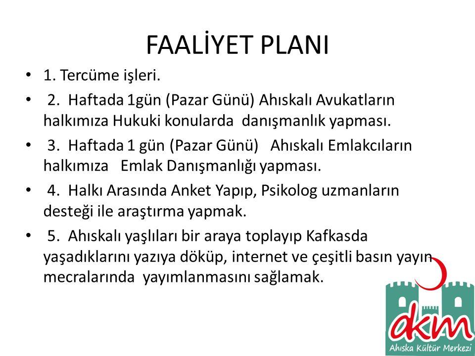 FAALİYET PLANI 1. Tercüme işleri.