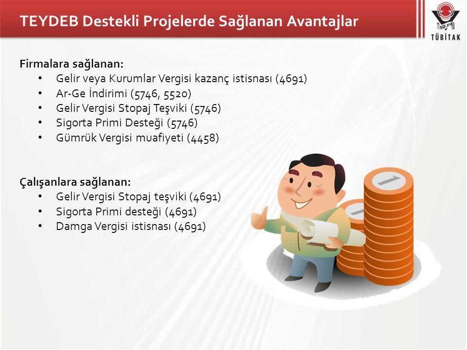 TEYDEB Destekli Projelerde Sağlanan Avantajlar