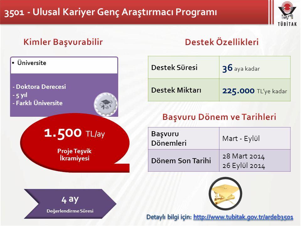 3501 - Ulusal Kariyer Genç Araştırmacı Programı