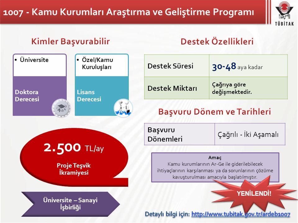 1007 - Kamu Kurumları Araştırma ve Geliştirme Programı