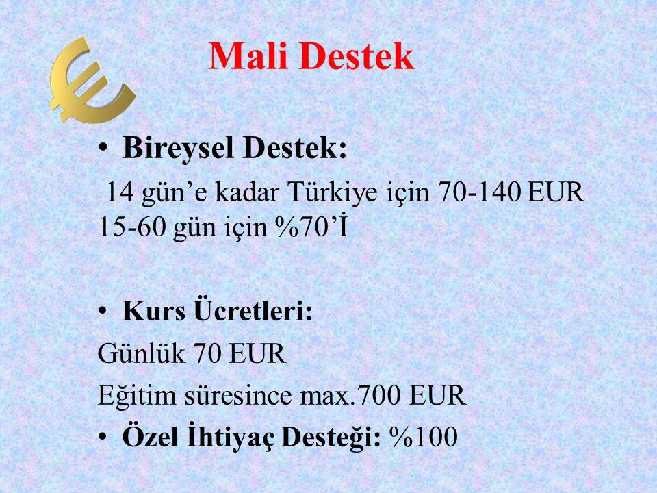 Bireysel Destek: 14 gün'e kadar Türkiye için 70-140 EUR 15-60 gün için %70'İ.