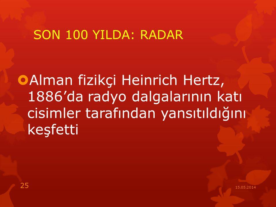 SON 100 YILDA: RADAR Alman fizikçi Heinrich Hertz, 1886'da radyo dalgalarının katı cisimler tarafından yansıtıldığını keşfetti.