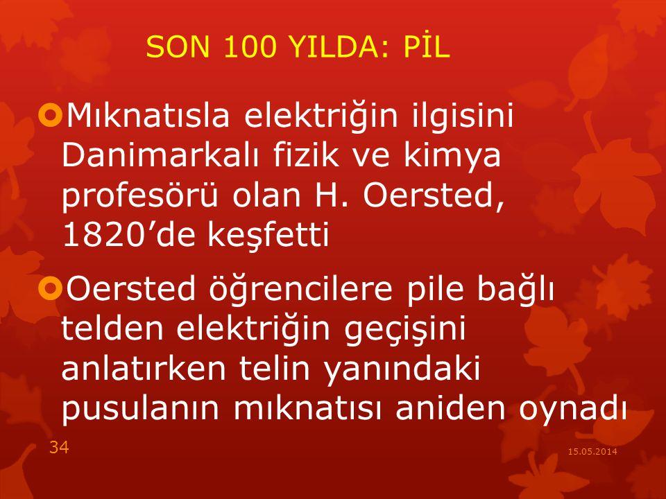 SON 100 YILDA: PİL Mıknatısla elektriğin ilgisini Danimarkalı fizik ve kimya profesörü olan H. Oersted, 1820'de keşfetti.