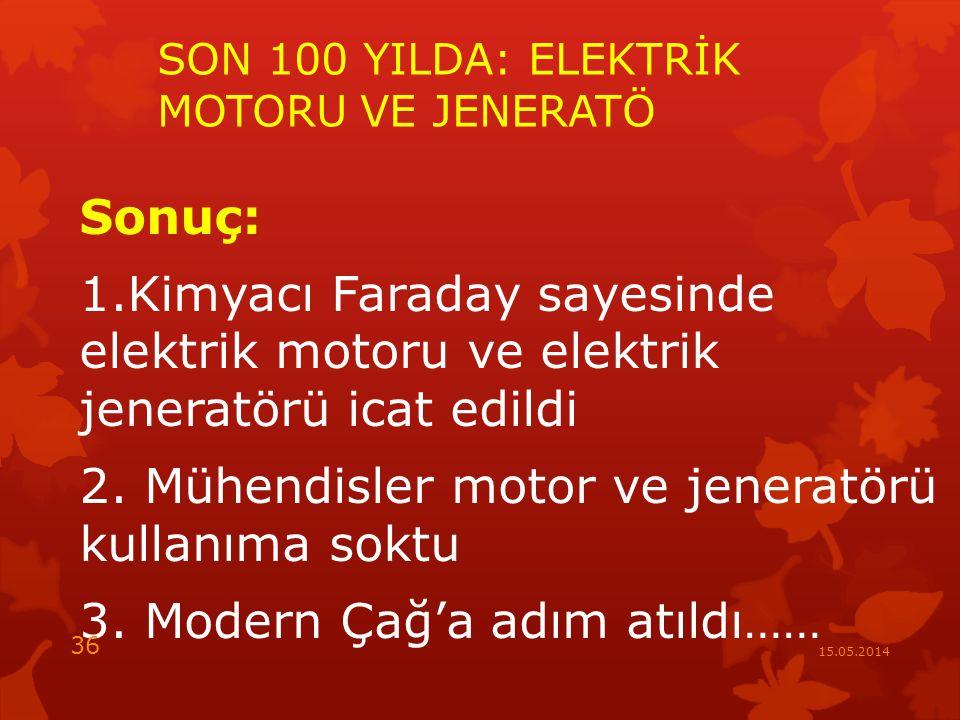 SON 100 YILDA: ELEKTRİK MOTORU VE JENERATÖ
