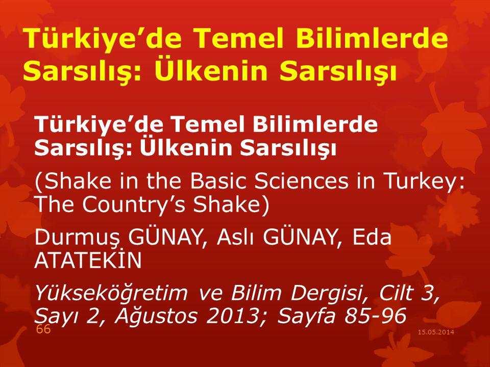 Türkiye'de Temel Bilimlerde Sarsılış: Ülkenin Sarsılışı