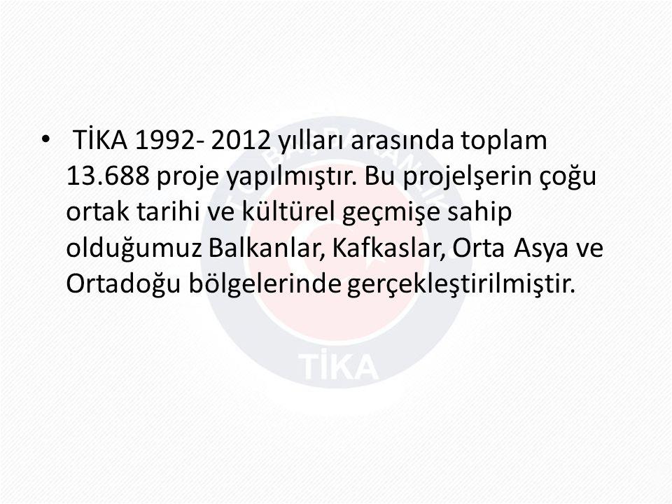 TİKA 1992- 2012 yılları arasında toplam 13. 688 proje yapılmıştır
