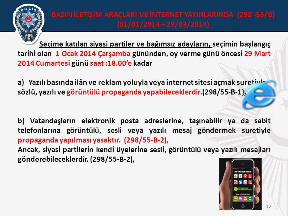 BASIN İLETİŞİM ARAÇLARI VE İNTERNET YAYINLARINDA (298 -55/B)