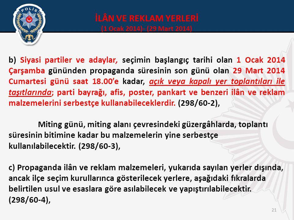 İLÂN VE REKLAM YERLERİ (1 Ocak 2014)- (29 Mart 2014)