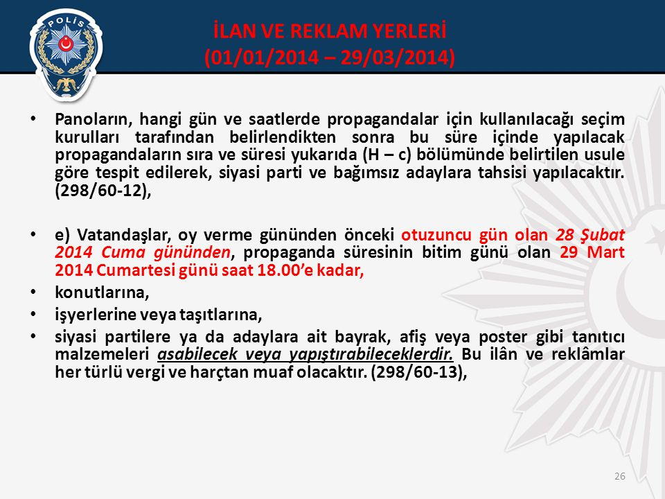 İLAN VE REKLAM YERLERİ (01/01/2014 – 29/03/2014)