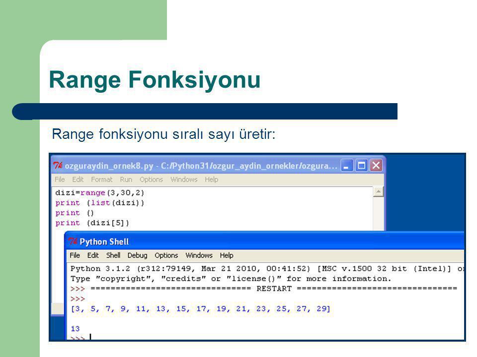 Range Fonksiyonu Range fonksiyonu sıralı sayı üretir: