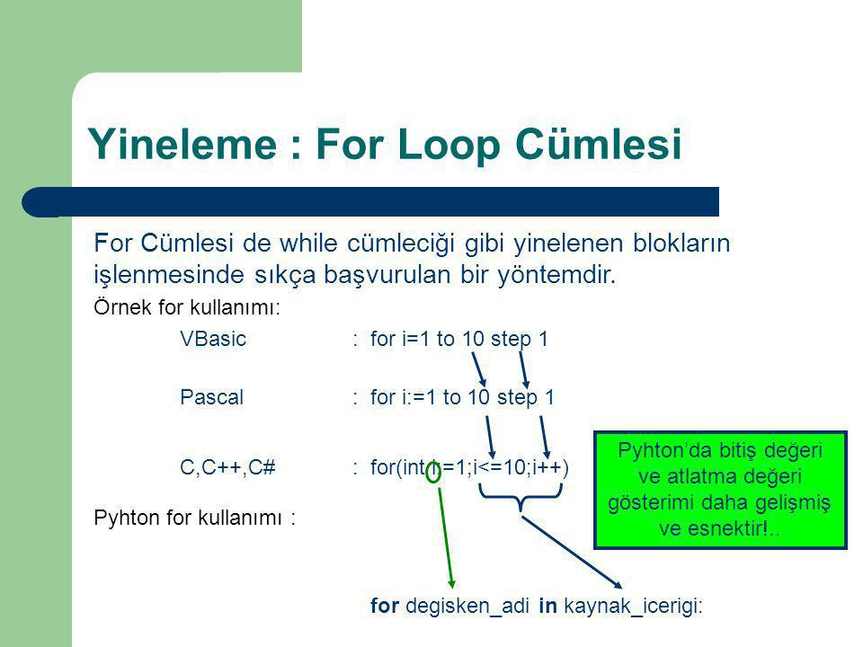 Yineleme : For Loop Cümlesi
