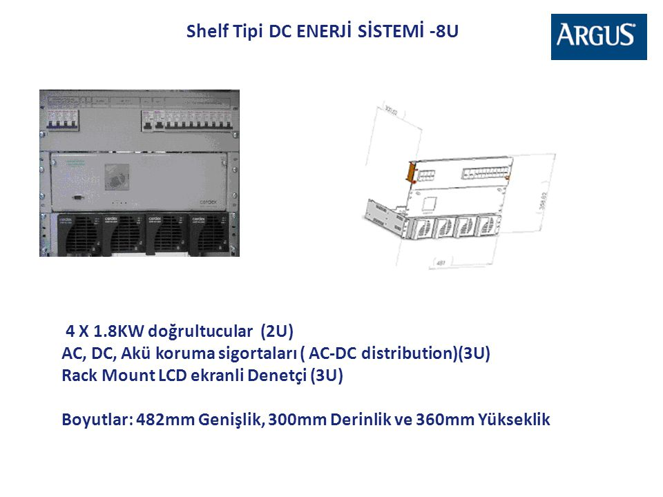 Shelf Tipi DC ENERJİ SİSTEMİ -8U