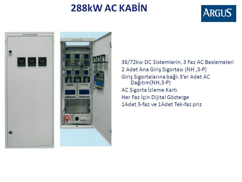 288kW AC KABİN 36/72kw DC Sistemlerin, 3 Faz AC Beslemeleri