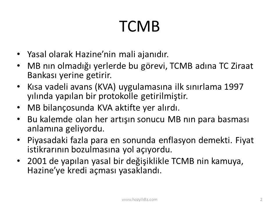 TCMB Yasal olarak Hazine'nin mali ajanıdır.