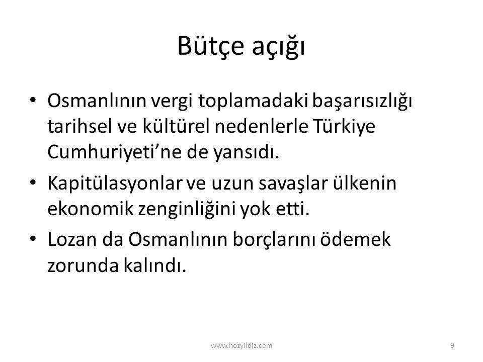 Bütçe açığı Osmanlının vergi toplamadaki başarısızlığı tarihsel ve kültürel nedenlerle Türkiye Cumhuriyeti'ne de yansıdı.