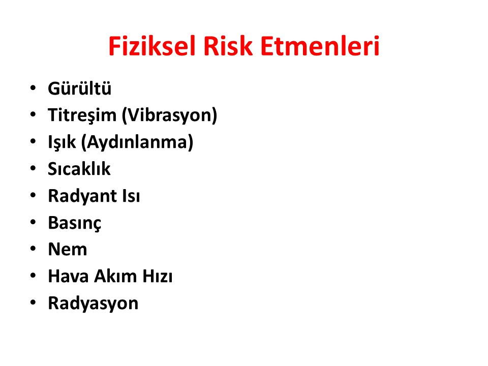 Fiziksel Risk Etmenleri