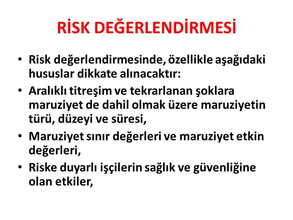 RİSK DEĞERLENDİRMESİ Risk değerlendirmesinde, özellikle aşağıdaki hususlar dikkate alınacaktır: