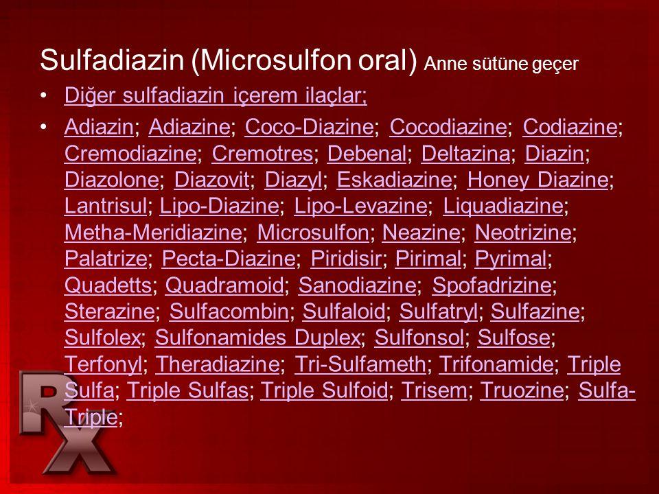 Sulfadiazin (Microsulfon oral) Anne sütüne geçer