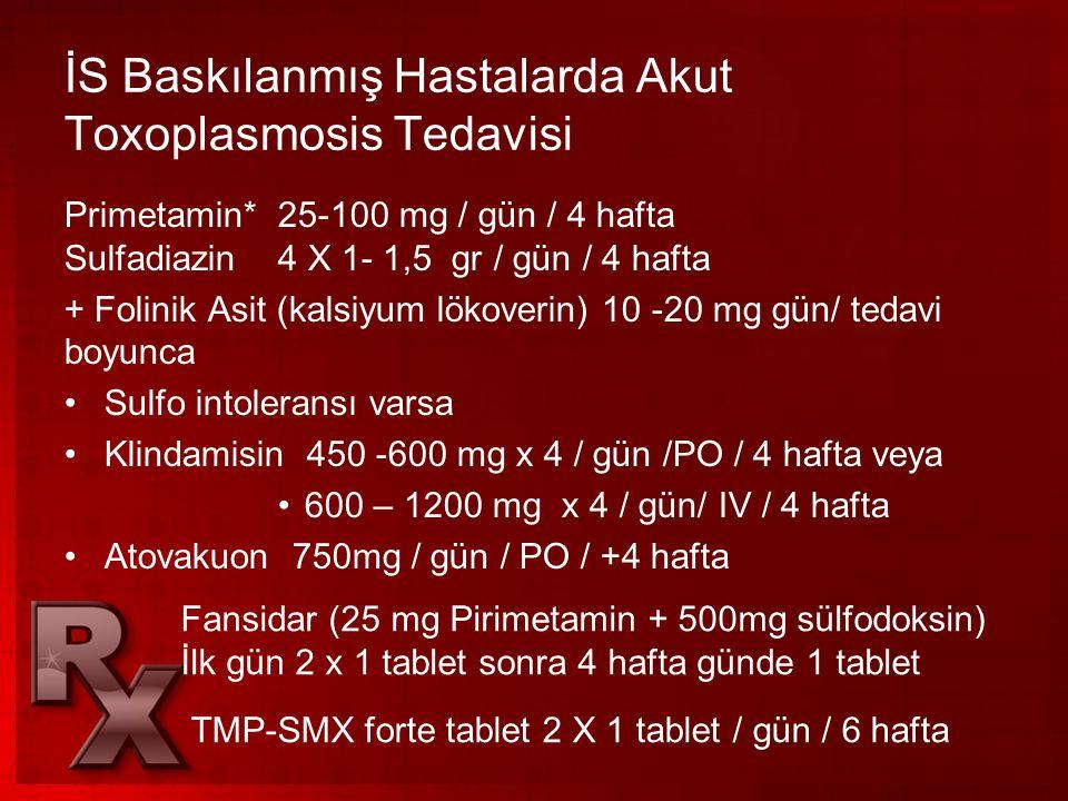 İS Baskılanmış Hastalarda Akut Toxoplasmosis Tedavisi