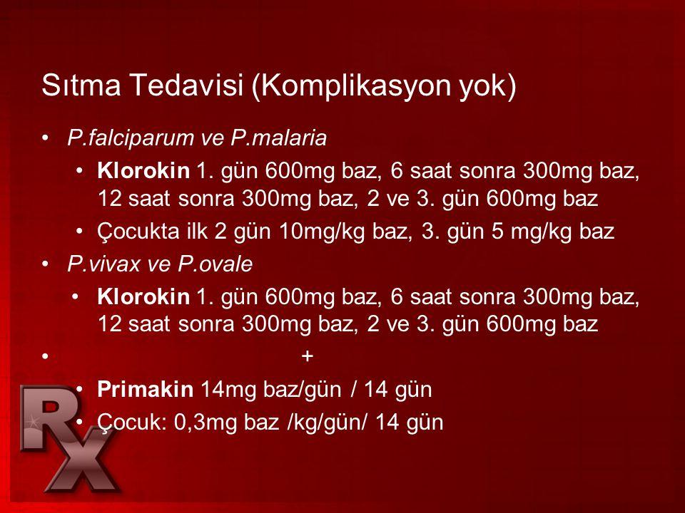 Sıtma Tedavisi (Komplikasyon yok)