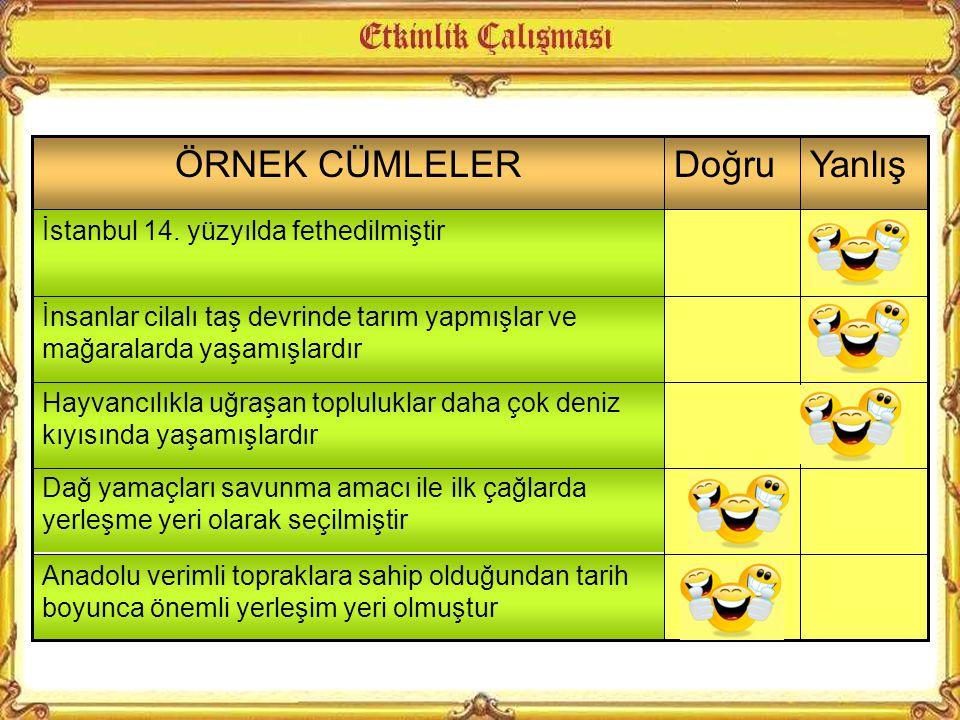 ÖRNEK CÜMLELER Doğru Yanlış İstanbul 14. yüzyılda fethedilmiştir
