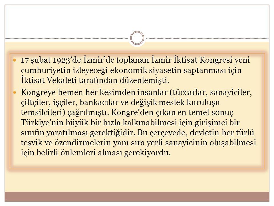 17 şubat 1923'de İzmir'de toplanan İzmir İktisat Kongresi yeni cumhuriyetin izleyeceği ekonomik siyasetin saptanması için İktisat Vekaleti tarafından düzenlemişti.