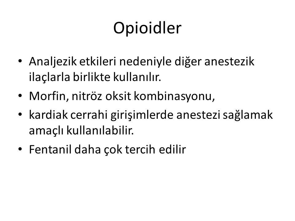 Opioidler Analjezik etkileri nedeniyle diğer anestezik ilaçlarla birlikte kullanılır. Morfin, nitröz oksit kombinasyonu,