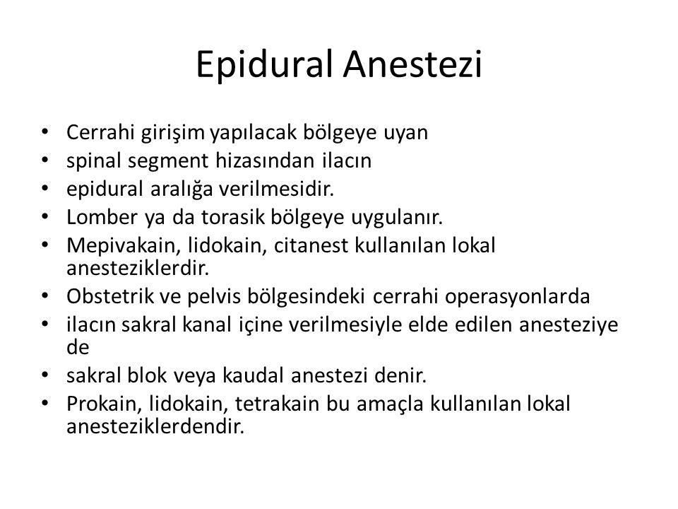Epidural Anestezi Cerrahi girişim yapılacak bölgeye uyan