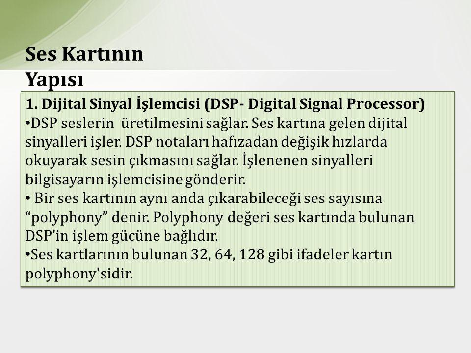 Ses Kartının Yapısı 1. Dijital Sinyal İşlemcisi (DSP- Digital Signal Processor)