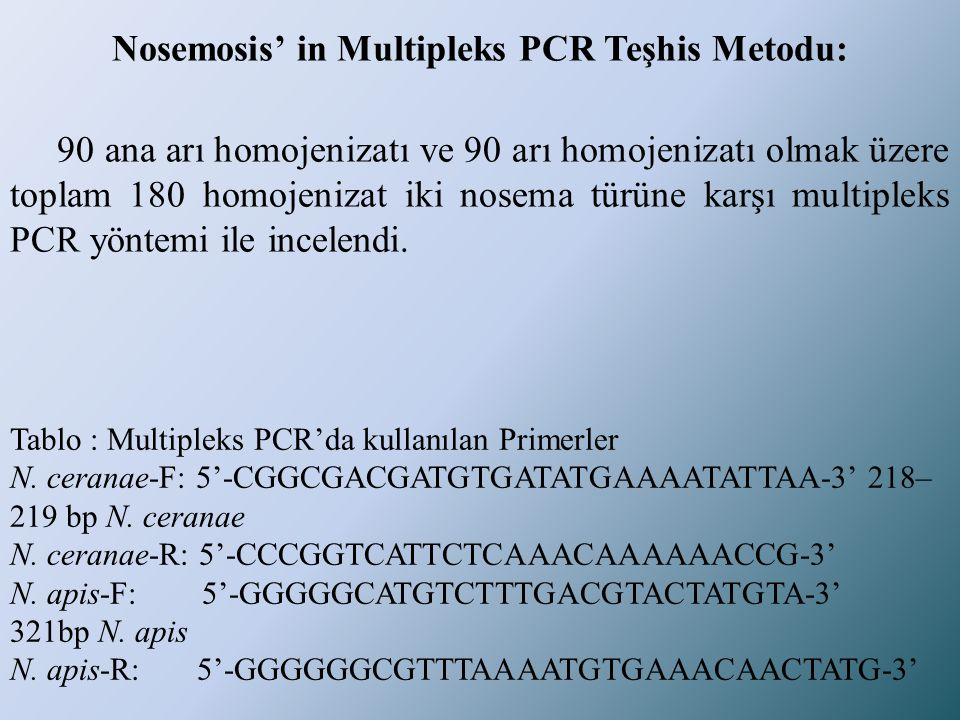 Nosemosis' in Multipleks PCR Teşhis Metodu: