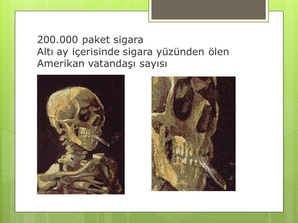 200.000 paket sigara Altı ay içerisinde sigara yüzünden ölen Amerikan vatandaşı sayısı