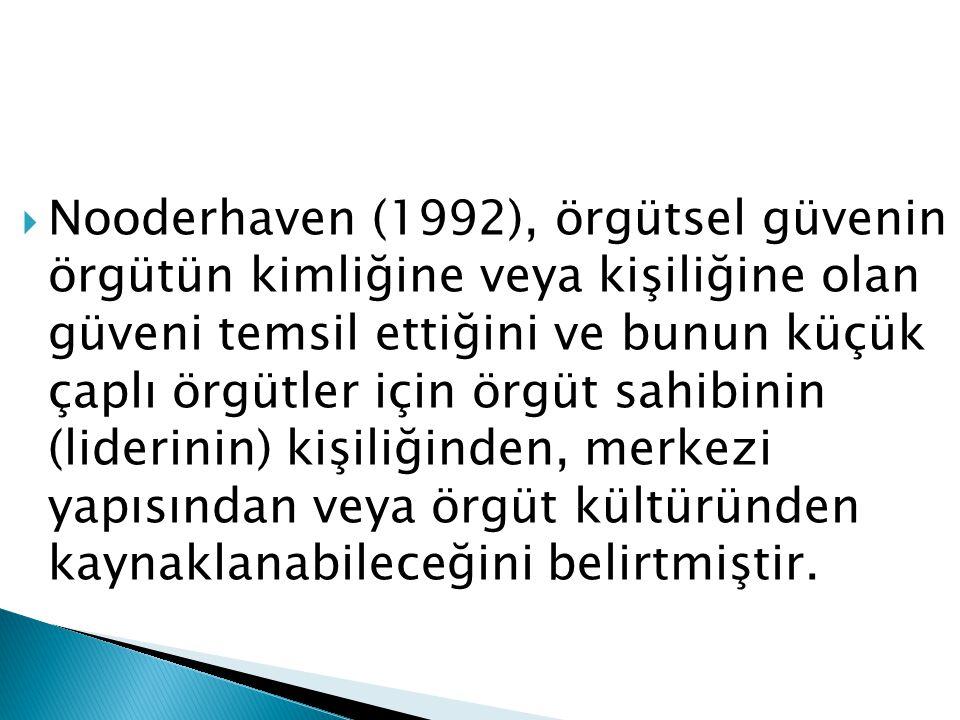 Nooderhaven (1992), örgütsel güvenin örgütün kimliğine veya kişiliğine olan güveni temsil ettiğini ve bunun küçük çaplı örgütler için örgüt sahibinin (liderinin) kişiliğinden, merkezi yapısından veya örgüt kültüründen kaynaklanabileceğini belirtmiştir.