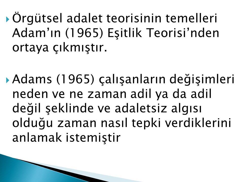 Örgütsel adalet teorisinin temelleri Adam'ın (1965) Eşitlik Teorisi'nden ortaya çıkmıştır.