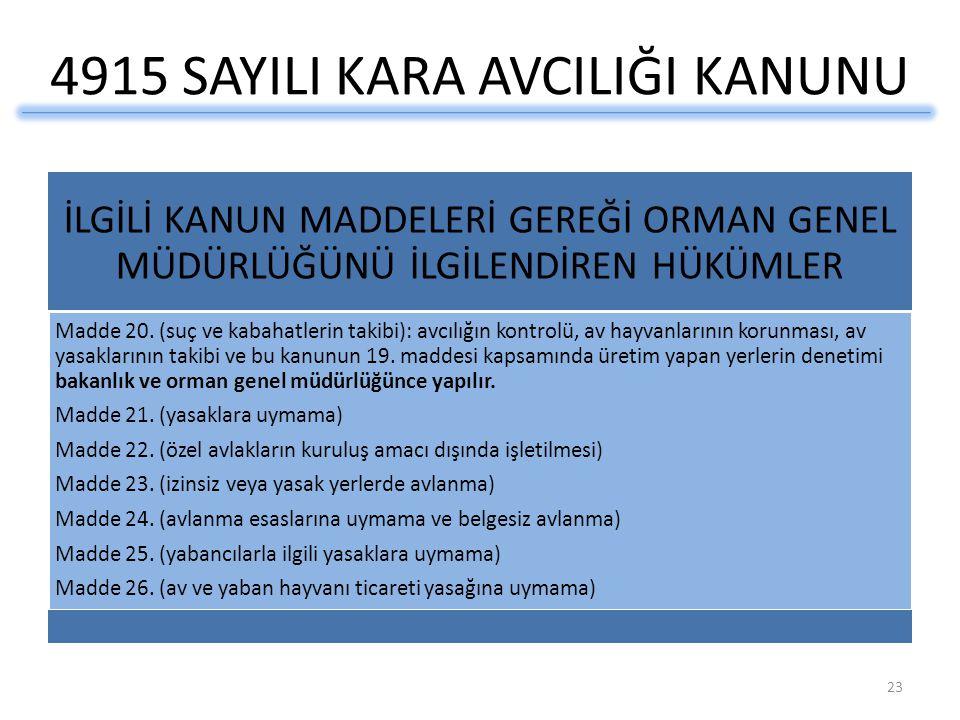 4915 SAYILI KARA AVCILIĞI KANUNU