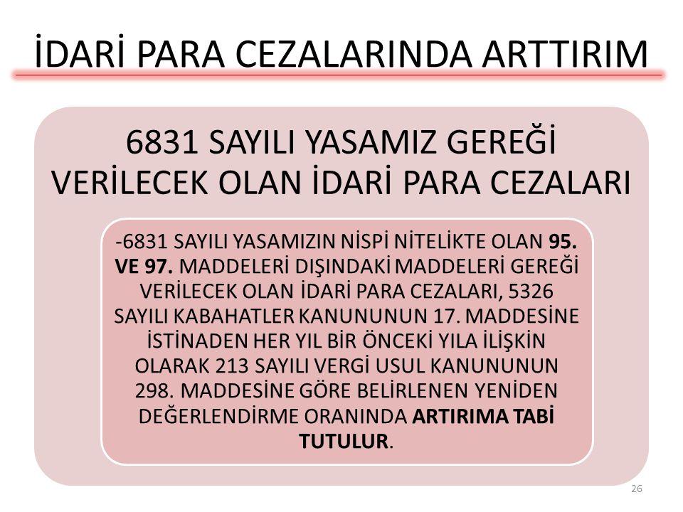 İDARİ PARA CEZALARINDA ARTTIRIM
