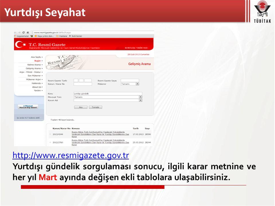 Yurtdışı Seyahat http://www.resmigazete.gov.tr