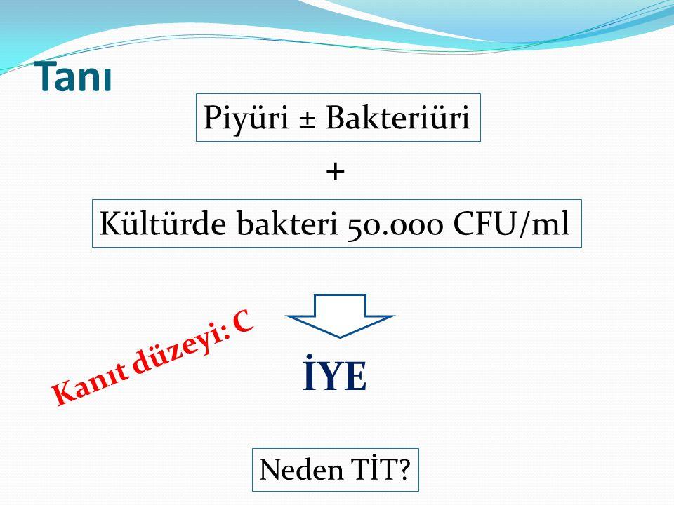 Tanı İYE + Piyüri ± Bakteriüri Kültürde bakteri 50.000 CFU/ml