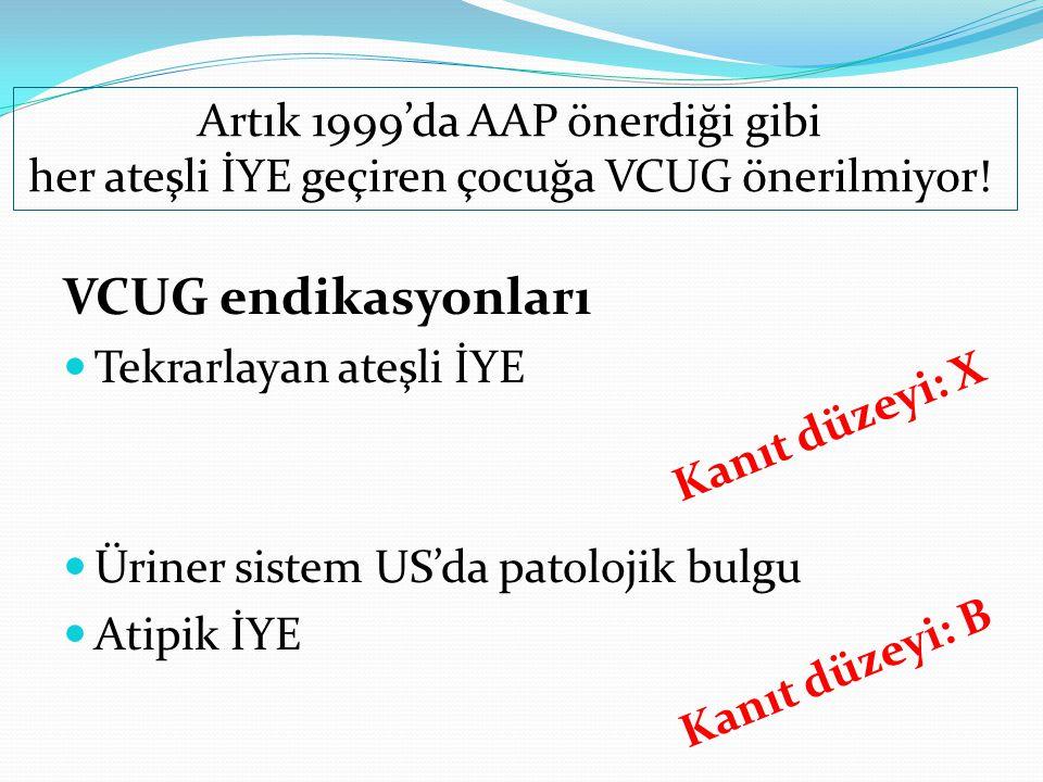 VCUG endikasyonları Artık 1999'da AAP önerdiği gibi