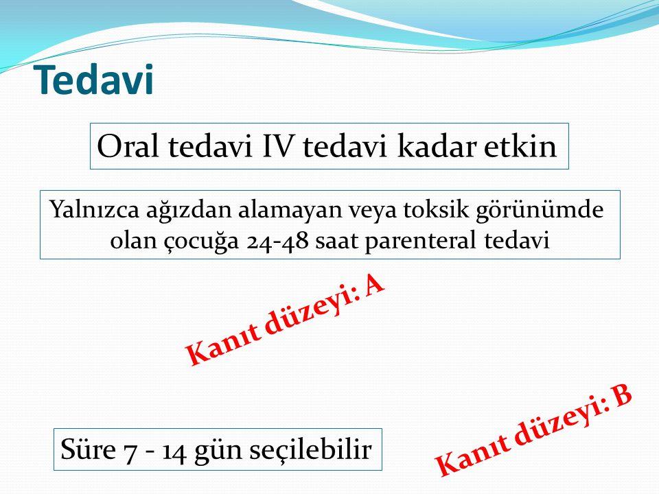 Tedavi Oral tedavi IV tedavi kadar etkin Kanıt düzeyi: A